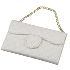 Stylish Plaid Handbag Designed Plastic + PU leather Case w/ Card Slot for Iphone 4 / 4s - White