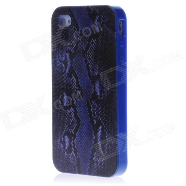 Boa Constrictor Style Protective TPU Back Case for Iphone 4 / 4s - Blue + Black