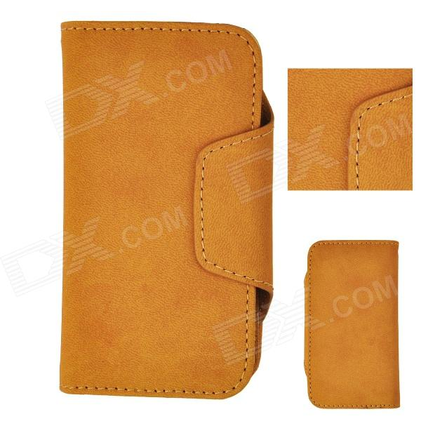 Angibabe ATHENA-1 Detachable PU Leather Case Cover w/ Card Slot for Iphone 5 / 5s - Yellowish Brown