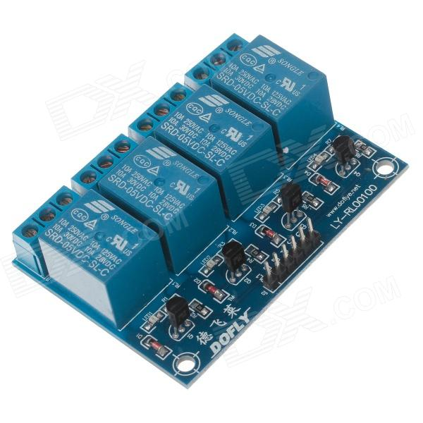 DOFLY CG06NG011 4-Channel Relay Module Circuit board - Blue 2pcs cf18 kt led flasher 8 pin adjustable relay module fix auto car signal error flashing blinker 81980 50030 06650 4650 150w