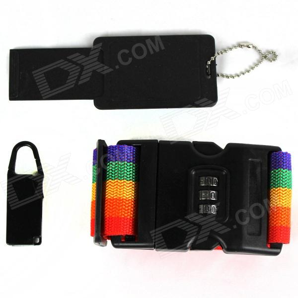 3-in-1 Set Outdoor Travel Password Lock Straps Set - Black + Red + Yellow + Green + Orange + Purple