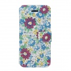 Fashionable Flower Pattern Protective PU Leather Case Cover for Iphone 5 / 5 c / 5s - Multicolored