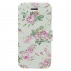 Fashionable Flower Pattern Protective PU Leather Case for Iphone 5 / 5c / 5s - White + Green + Pink