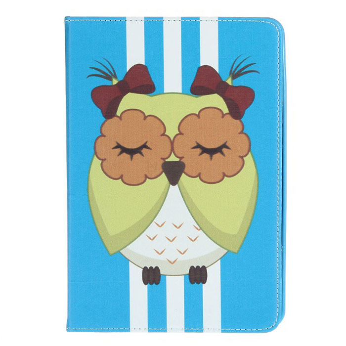 Stylish Owl Pattern Protective PU Leather Case Cover Stand for Ipad MINI - Blue + Yellow + White stylish owl pattern protective pu leather case cover stand for ipad air deep pink yellow white