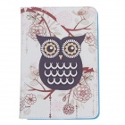 Stylish Owl Pattern Protective PU Leather Case Cover Stand for Ipad MINI - White + Black