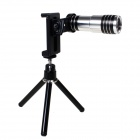 12X Optical Glass Zooms Lens Camera Telescope w/ Back Case for Iphone 5 / 5s - Silver + Black