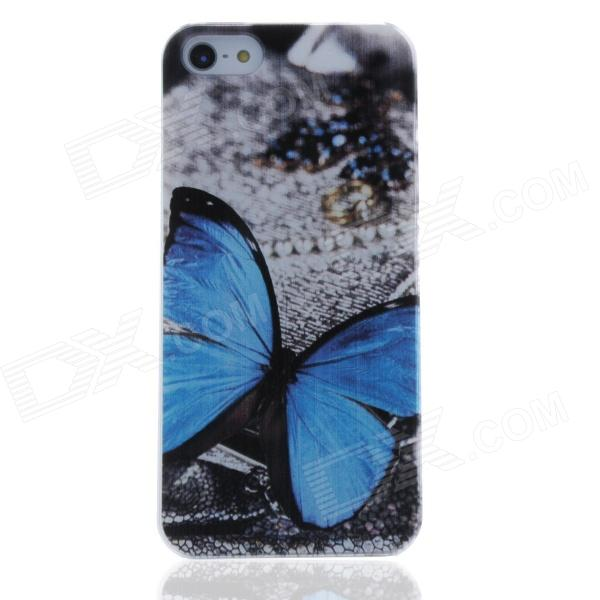 Blue Butterfly Pattern Protective PC Back Case for Iphone 5 / 5c / 5s - Blue + Brown protective heart shape rhinestone decoration back case for iphone 5 brown