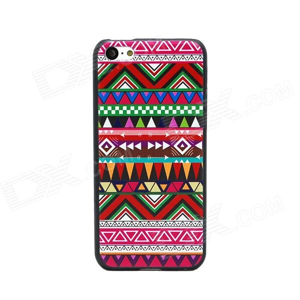 Elonbo Dimensional Relief Tribal Ethnic Style Protective PC Back Case for Iphone 5C - Multicolored relief tribal ethnic style protective plastic back case for iphone 4 blue white red