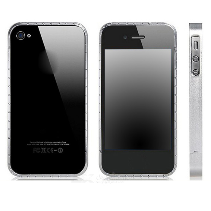 Crystal Decorated Removable Protective Aluminum Alloy Bumper Frame for Iphone 4 / 4s - Silver