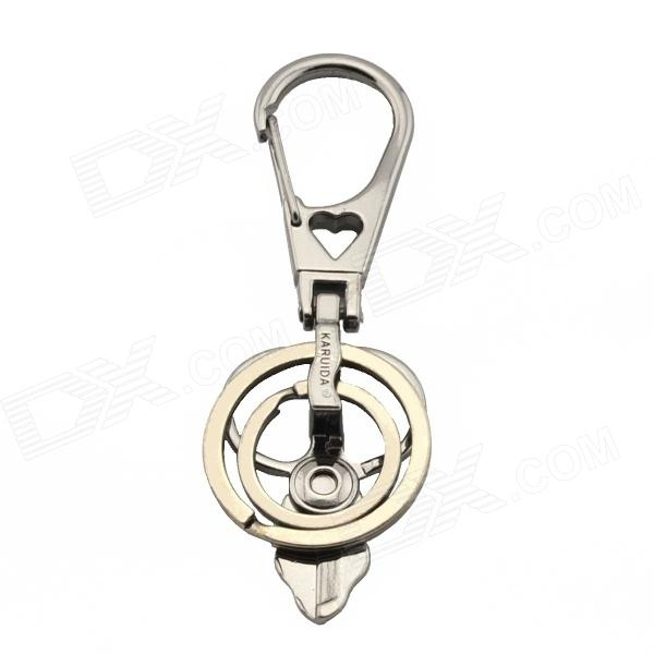 Scissor Design Double Ring Keychain - Grey coin design ring