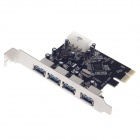 SUNWEIT USB 3.0 4-Port PCI-E Express Card - Black + Silver