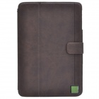Zenus Protective Head Layer Cowhide Case Stand w/ Auto Sleep Cover for Retina Ipad MINI - Dark Brown