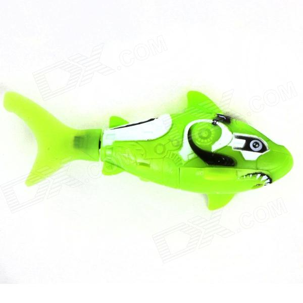 ROBO FISH Shark Style Electronic Fish Toy - Green + White (2 x LR44)