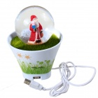 Santa Claus Style USB Sound Control Induction Lamp w/ 1-Port USB Hub - White + Green + Red