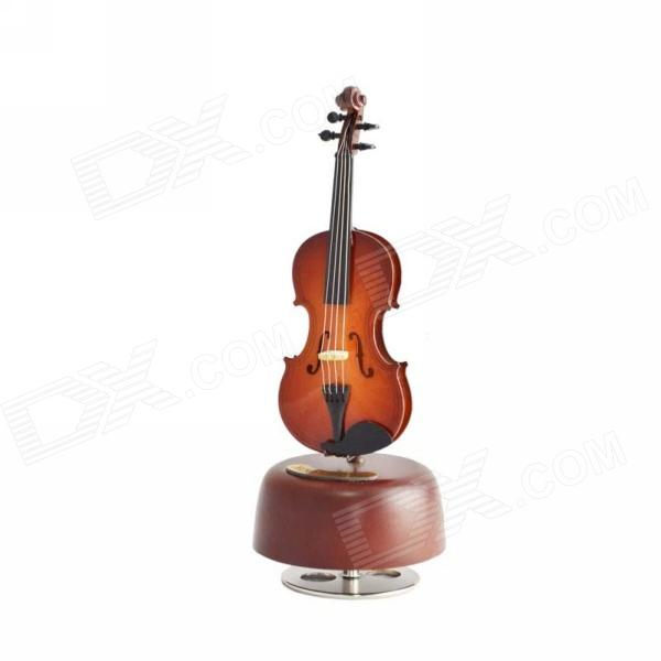 DEDOMusic Gifts MG-308 Pure Handmade Rotating Violin Music Box - Brown