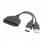 "CY U3-067 USB 3.0 to SATA 22-Pin 2.5"" Hard Disk Driver Adapter Cable w/ USB Power Cable - Black"