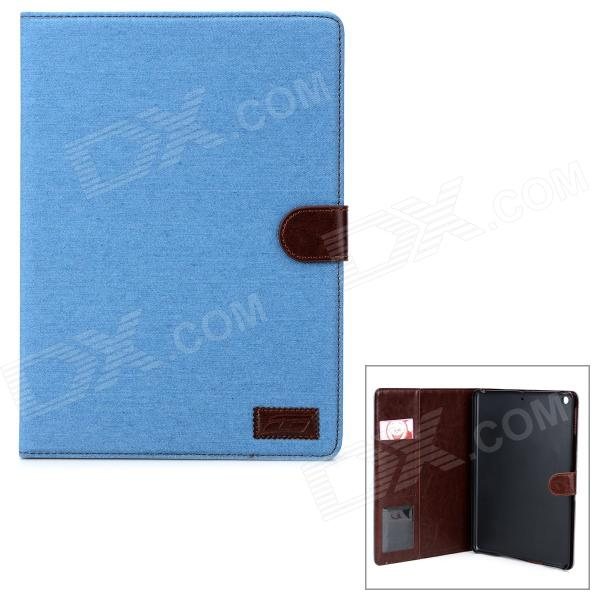Protective PU Flip-Open Case w/ Card Slots / Stand for Ipad AIR - Sky Blue + Brown stylish flip open pu tpu case w card slots for nokia 625 blue