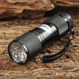 UltraFire 709 9-LED 1W 405nm Purple Flashlight - Black (3 x AAA)