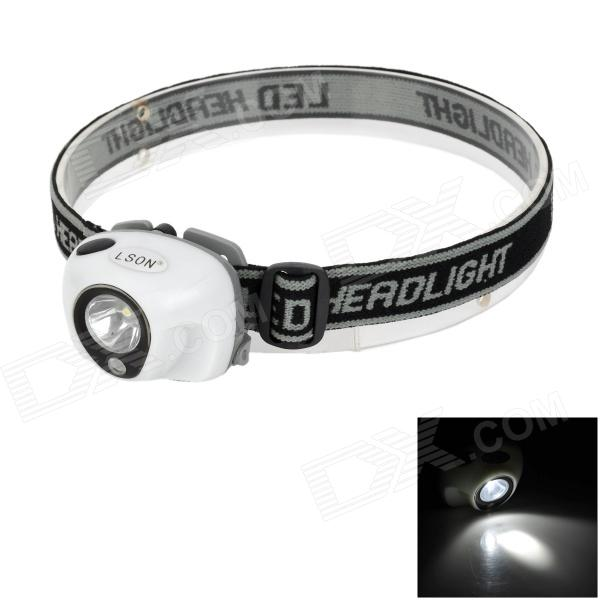 LSON M-097 2-LED White + Red 20lm 3-Mode Headlamp - White + Light Grey (3 x AAA)