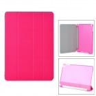 Protective PU + Plastic Flip-Open Case w/ Stand / Auto-Sleep for Ipad AIR - Deep Pink