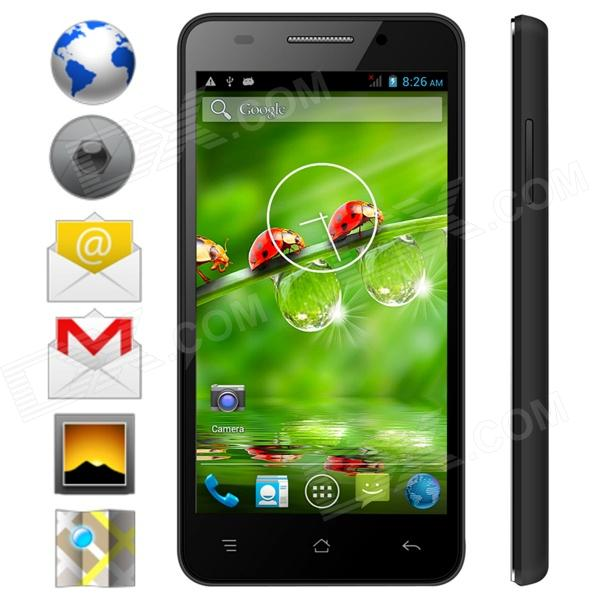 KICCY MTK6582 Quad-Core Android 4.2 WCDMA Bar Phone w/ 4.5 IPS, Wi-Fi, GPS, ROM 4GB - Black m pai 809t mtk6582 quad core android 4 3 wcdma bar phone w 5 0 hd 4gb rom gps black