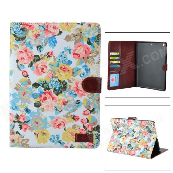Flower Pattern Protective caso do plutônio w / Stand + Auto-Sleep para Ipad AIR - Branco + multicoloridos