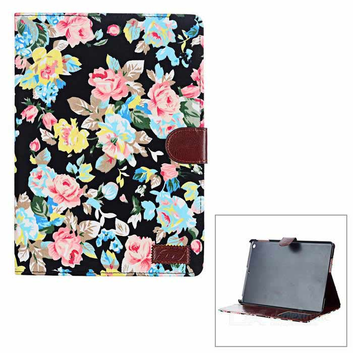 Flower Pattern Protective caso do plutônio w / Stand + Auto-Sleep para Ipad AIR - Preto + multicoloridos