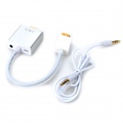 1080P HDMI to VGA + 3.5mm Audio Video Converter w/ USB 5V Power Supply - White + Silver