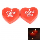 Romantic Hand-made Heart Shaped ''I LOVE YOU'' Pattern Plant Wax Candle - Red + White (2 PCS)