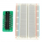 26-Pin Expansion Cable + Raspberry PI GPIO Adapter Board + Bread Board Set - Green + Black + White