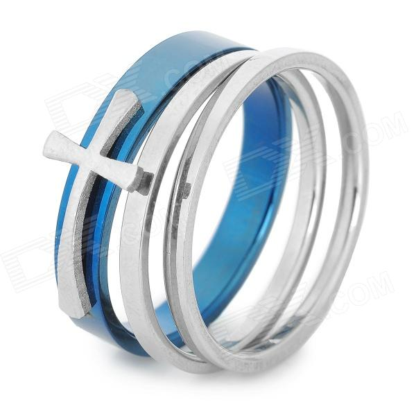 SHIYING jz057 Cross Style Stainless Steel Ring for Men - Blue + Silver shiying men s fashion 316l stainless steel split leather bracelet black silver