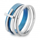SHIYING jz057 Cross Style Stainless Steel Ring for Men - Blue + Silver