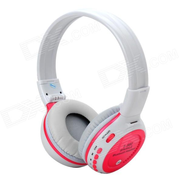 Stereo Bluetooth v2.1 + EDR Headphones w/ TF / FM / Microphone - White + Deep Pink