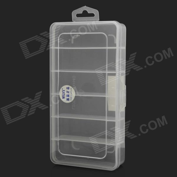 WLXY WL-1212 6-Compartment PP Storage Management Box - White + Translucent White 5 pieces h3y 2 power on time delay relay solid state timer max 30m 220vac dpdt