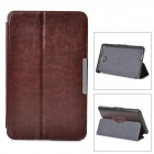 Stylish Flip-open PC + PU Leather Case w/ Holder + Auto Sleep for ASUS ME371 MG - Brownish Black