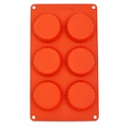 GEL110202c6-Cup Flower Style Silicone DIY Cake Mold - Red