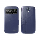 HOTGO KOMO-1 Protective PU Leather Case Cover w/ Visual Window for Samsung Galaxy S4  - Blue