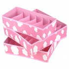 Folding Non-woven Fabric Underwear Storage Box Set - Pink + White