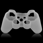 Protective Silicone Cover Case w/ Anti-slip Cap for PS3 / PS3 Slim Controller  - Translucent White
