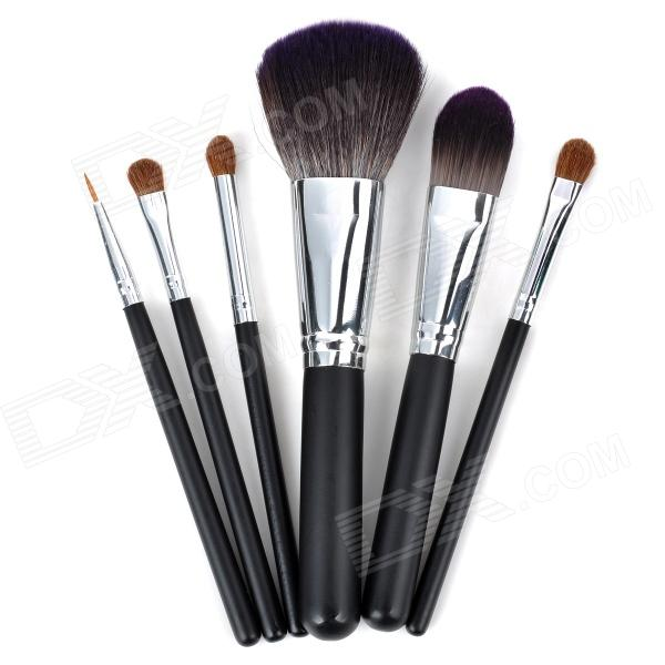 MSN88 Convenient Nylon Hair + Wood Handle Makeup Brush Tool Set - Silver + Black (6 PCS)