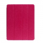 Stylish Ultra Thin Protective PU Leather Case Cover Stand w/ Auto Sleep for Ipad 4 - Deep Pink