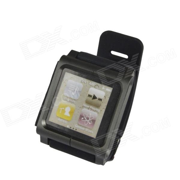 Wrist Watch Style Protective Wrist Watch Band Case for Ipod Nano 6 - Grey + Black