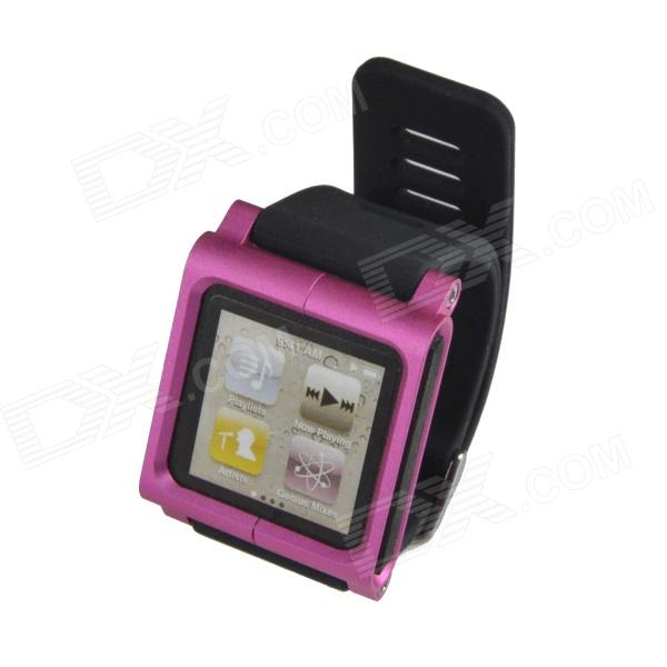 Wrist Watch Style Protective Wrist Watch Band Case for Ipod Nano 6 - Deep Pink + Black