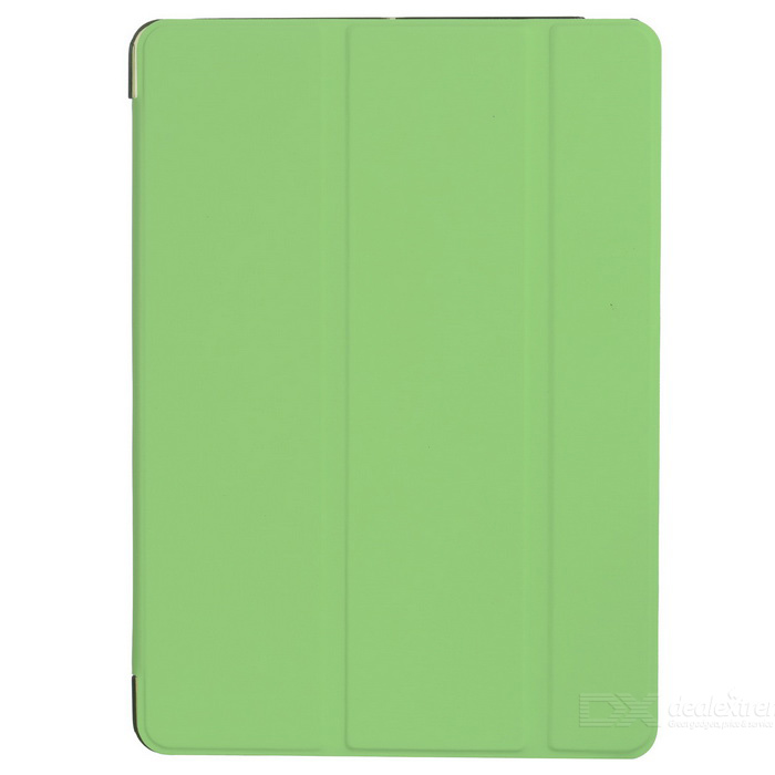 Protective PC Back Case + 3-Fold PU Leather Cover Stand w/ Auto Sleep for Ipad AIR - Green