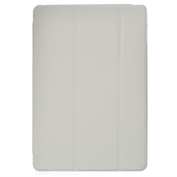 Protective PC Back Case + 3-Fold PU Leather Cover Stand w/ Auto Sleep for Ipad AIR - White
