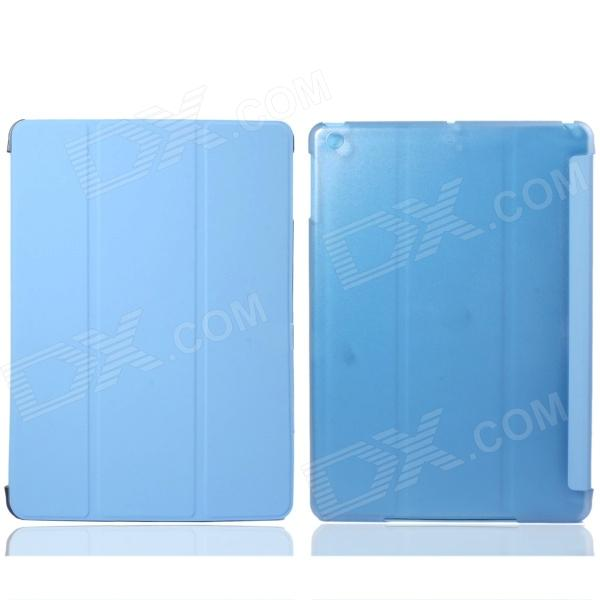 Protective PC Back Case + 3-Fold PU Leather Cover Stand w/ Auto Sleep for Ipad AIR - Light Blue onda v919 air v919 air ch v919 air 3g protective leather case blue