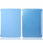 Protective PC Back Case + 3-Fold PU Leather Cover Stand w/ Auto Sleep for Ipad AIR - Light Blue