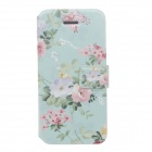 Fashionable Lotus Pattern Protective PU Leather Case Cover for Iphone 5 / 5s - Multicolored
