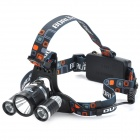 BORUIT RJ-3001 3 x Cree XM-L T6 1200lm 4-Mode White Bicycle Headlamp - Black + Silver (1~2 x 18650)