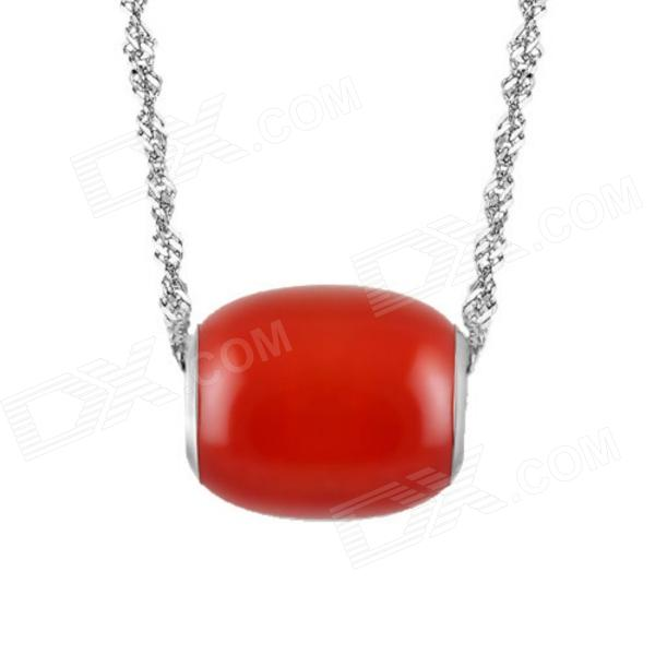 EQute PSIW212C4 S925 Sterling Silver Red Agate Pendant Necklace (18